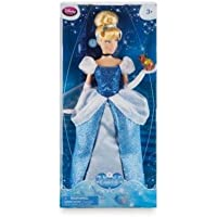 Cinderella Classic Doll wearing a glittering blue gown with a white mesh peplum and puff sleeves