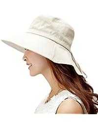 Siggi Femme Capeline Pliable Chapeau de Soleil Réglable Coton Large Bord Visière Eté Plage Voyage UPF UV