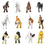 Larcele 12 Tipi Mini Modello Animale in Plastica Simulato Cane Figure Giocattolo per Bambini FZG-01 (Cane)