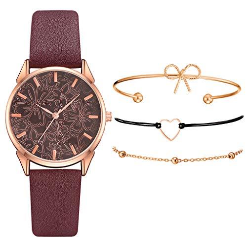 Armband Damen Uhr Set Anhänger Analog Quarzuhr mit PU Leder Schmuck Geschenk Set (B)