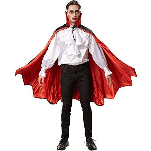 dressforfun Zweifarbiger, edler Vampirumhang mit stilvollem Kragen Fasching Fastnacht Karneval Halloween Kostüm (148 cm | Nr. 301855)