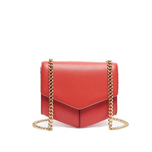 FZHLY La Signora Hit In Pelle Di Colore Geometrica Pacchetto Mini Catena Della Spalla Messenger Bag,BlackAndWhiteBrownHitColor Red