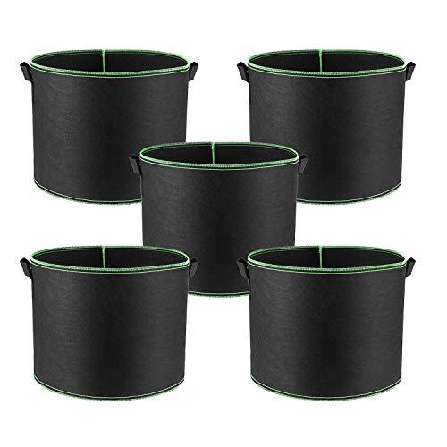 Alumuk 5er Pack Pflanzsack aus Vliesstoff – 3 Gallonen, ca. 12 Liter – Pflanztasche Kartoffelsack Pflanzbeutel Garten Sack aus Fliesstoff zum Bepflanzen Pflanzgefäß Pflanzbehälter Pflanzbeutel