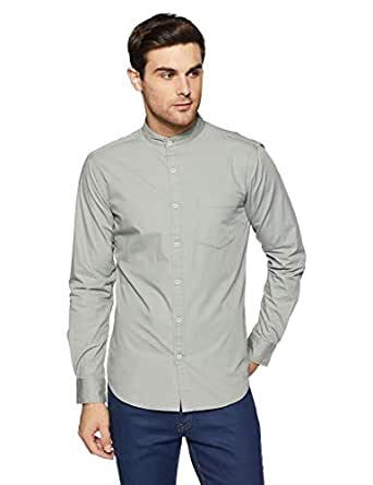 Amazon Brand - Symbol Men's Solid Regular Fit Full Sleeve Cotton Casual Shirt (AW-SY-MCS-1143_Light Grey_x-large)