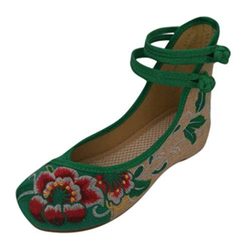 ädchen Flache Schuhe Freizeit Bestickte Schuhe Hoher Anstieg Knöchel Erbsenschuhe Doppelter Gurt Segeltuchschuhe (Grün,40 EU) ()