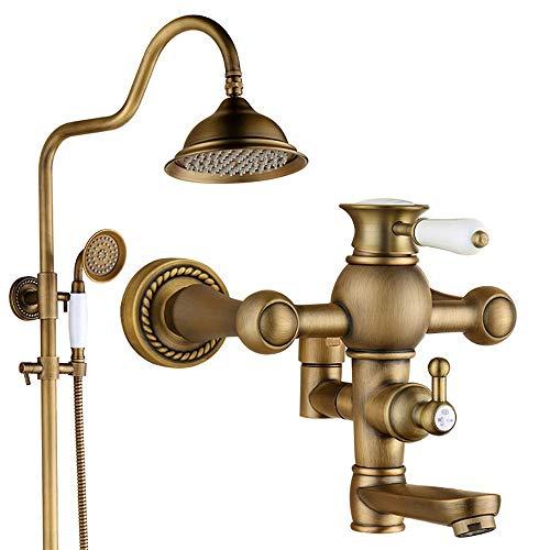 YOROOW Antike Messing Wandmontage Duscharmatur Set 3 Way, Haushalt Retro Warm und Kalt Mischen Badewanne Wasserhahn Regen Badezimmer Kits