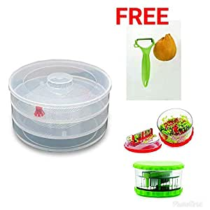 Shreeji Ethnic Sprout Maker | Plastic Sprout maker box | Hygienic Sprout Maker With 4 Container | Organic Home Making Fresh Sprouts Beans for Living Healthy Life Sprout Maker 4 Bowl