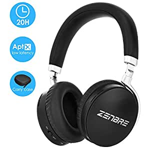 Bluetooth Headphones Wireless, ZENBRE H6 Foldable Bluetooth 4.2, Bass Portable Hi-fi Stereo with Noise Isolation, 20h Playtime Support Aptx and Hands-Free Calling, Carry Case(Black)