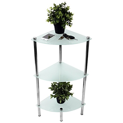 Badezimmerregal mit 3 satinierten Glasböden, 32x32x78,5cm, Badregal, verchromt, Badezimmermöbel, Eckregal, Glasregal
