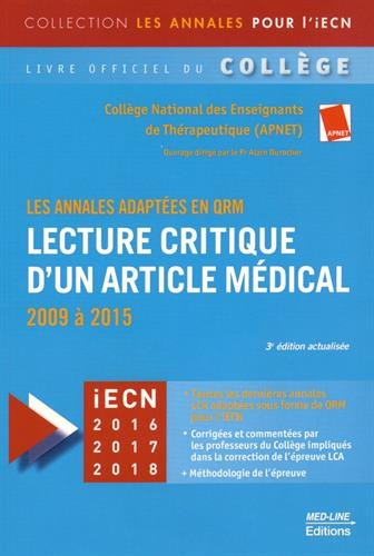 Lecture critique d'un article mdical : 2009  2015, les annales adaptes en QRM