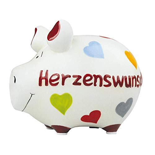 KCG Keramik Sparschwein HERZENSWUNSCH ca. 12.5 cm x9 cm