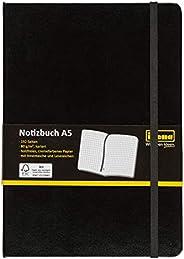 Idena 209281 Notizbuch FSC-Mix, A5, kariert, Papier cremefarben, 96 Blatt, 80 g/m², Hardcover in schwarz, 1 St