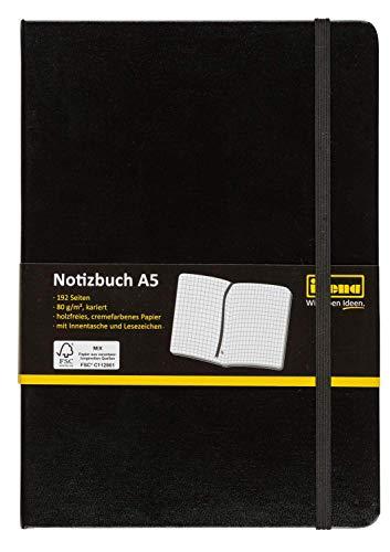 Idena 209281 Notizbuch FSC-Mix, A5, kariert, Papier cremefarben, 96 Blatt, 80 g/m², Hardcover in schwarz, 1 Stück