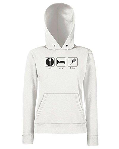 T-Shirtshock - Sweats a capuche Femme T0808 eat sleeep tennis sport Blanc