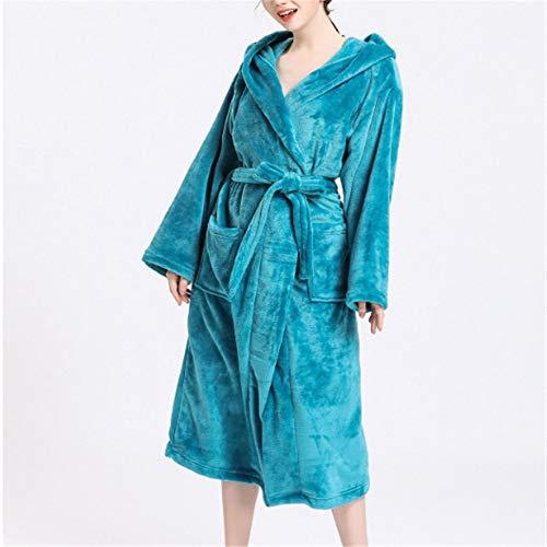 Damen Morgenmantel Kimono Satin Kurz Nachtwäsche Bademantel Robe Schlafanzug,Flanell großer Korallensamt mittlerer Länge A-2 M (Der Dude Baby Kostüm)