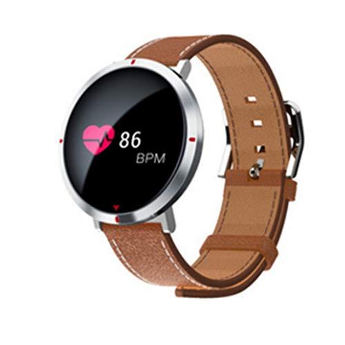 95a6869b26dc Laurelmartina S2 0.96 Inch Round Dial PU Leather Men Women Smart Wristband  Heart Rate Blood Pressure Pedometer Smartband Health Tracker Vida Solitaria