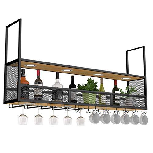 WZB Retro Decken-Multifunktionsweinregal mit Scheinwerfern, Metallwandbehang, Wandregalflasche und Glaslagerregal zur Verwendung für Gewerbe und Haushalt