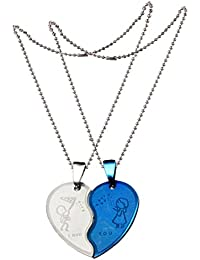 Sullery Romantic Couple Heart Choker Party Engraved Love You Silver Blue Locket Pendent Stainless Steel Chain Necklace For Unisex
