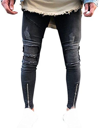 Hombre Transpirable Super Skinny Fit Pantalones Vaqueros Rotos Elasticos Jeans Como la imagen 30