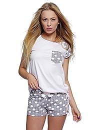 dfa6e2cc7d Sensis Edles Nachtwäsche-Set aus Trendigem Baumwoll-Shirt und koketten  Shorts in Angesagtem Muster