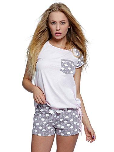 Sensis edles Nachtwäsche-Set aus trendigem Baumwoll-Shirt und koketten Shorts, made in EU (XL (42), rosa/grau) (Capri-baumwoll-overalls)