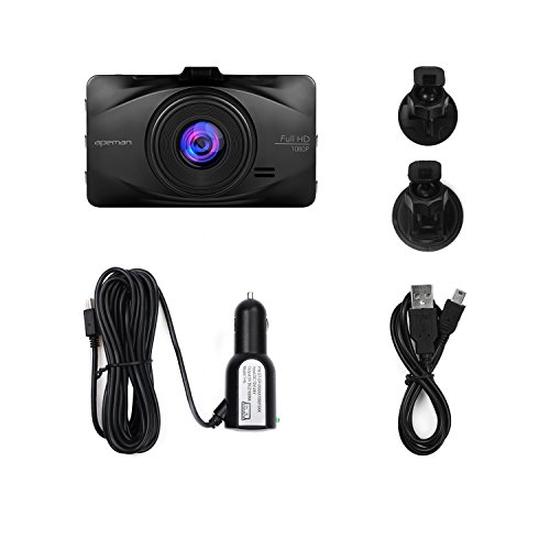 APEMAN In Car Dash Cam 1080P FHD Car Video Recorder 170°Wide Angle WDR Camera with 3 inch LCD Motion Detection Parking Monitor and G-sensor