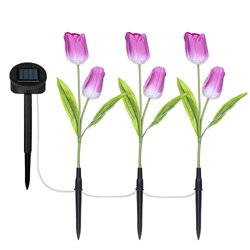1 Set Tulpe Garten Licht FeiliandaJJ LED Solar Blumen Licht IP65 Wasserdichte 3 Modus Lichterkette Hochzeit Party Halloween Xmas Innen/Außen Haus Deko (Lila)