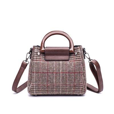 klxeb Grid Tasche weiblich Tasche Tide Single Schultertasche und vielseitig Kreuz, quadratisch Reißverschluss Paket, braun (Grid-ziel)