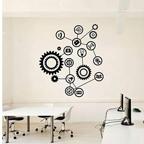 ljjljj Getriebetechnik Wandaufkleber Vinyl Aufkleber Teamwork Büro Innen Home Art Decor Tapete 42x48cm