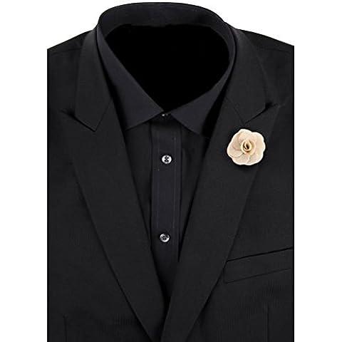 LEORX Camelia Boutonniere Spilla Spilla Cravatta per gli uomini (cachi)
