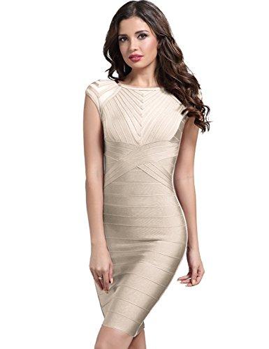 b94b634f41c Adyce Wedding Guest Dress BandageDressBeige Elegant Cocktail Clubwear  Lovely Christmas Wear M