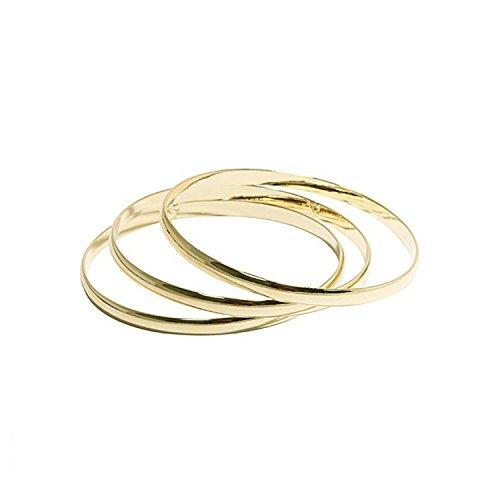 Set di 3 bracciali rigidi a cerchio, in metallo dorato, da donna, gioiello fantasia