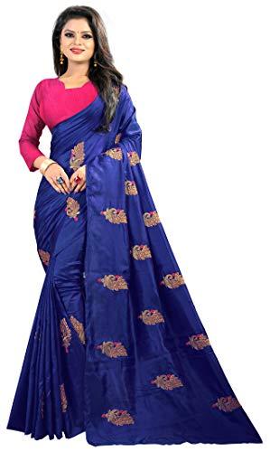 Lovisa Fashion Women\'s Paper Silk Saree With Blouse Piece (Pinkmor_Blue)