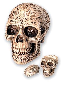 bricabreizh Cenicero Tribal con diseño de cráneo, con Tapa