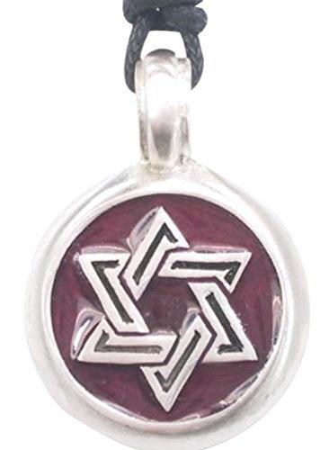 Llords Schmuck lila Davidstern Anhänger Halskette, feinster Zinn Metall (Kostüm Zinn David)