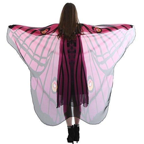 utterfly Wing Cape weichen Schal Schals Wrap Schal Frauen Lady Nymph Kostüm (185*145CM, Pink) (Klar Rucksäcke Pink)