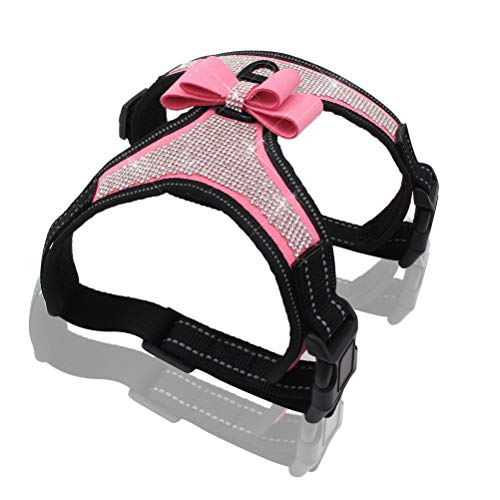 Kuntrona reflektierendes Hundegeschirr Nylon Pitbull Mops kleine mittelgroße Hunde Geschirr Weste Bling Strass Schleife Hund Zubehör Pet Supplies, M, Rose (Pink Pitbull Hundegeschirr)