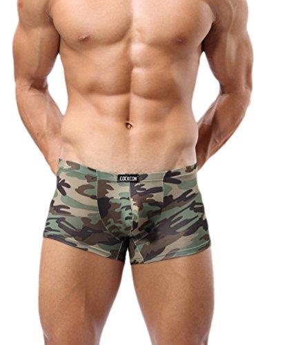 Cockcon Herren sexy Boxershorts mit Penis Pouch camo Gr. S-XL Farbe camouflage grün neu (M/L) (Camouflage Jock)