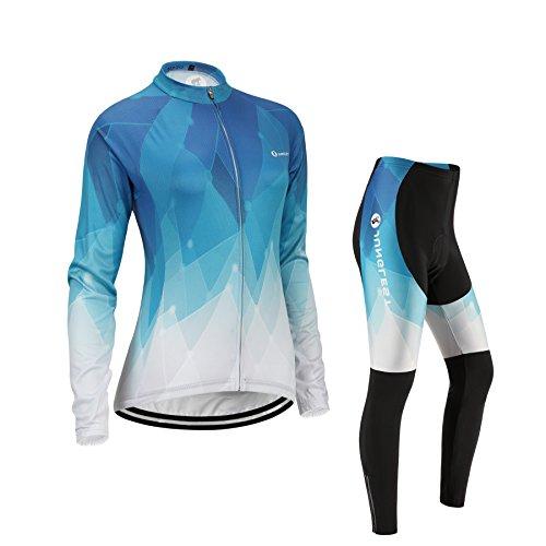 Damen Fahrrad-Trikot und Hose, Fahrrad-Bekleidung, langärmlig, 3D Sitzpolster, JUNGLEST (Winter,fleece) Brustumfang 91- 97cm
