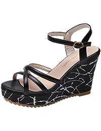 Sandalias zapatos verano Señora moderna,Sonnena Las mujeres de flores arco de tacón plano sandalias zapatillas de playa zapatos casuales