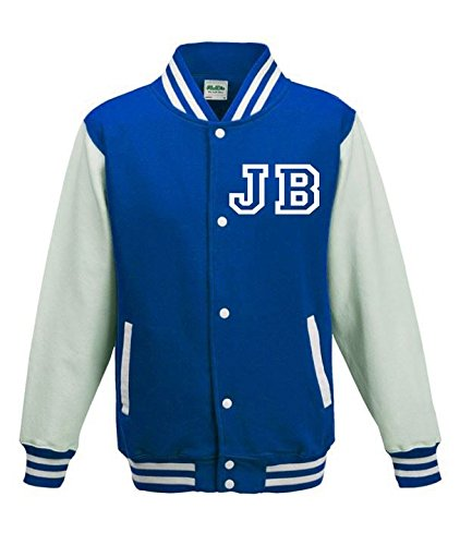 Justin Bieber Fan American College Baseball Stile Varsity Giacca Blue Small