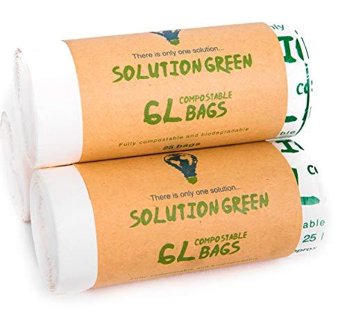 Solution Green 6L Kompostierbare Bio Müllbeutel Für Die Biotonne Oder Ihren Kompost, 100 Stück (6L)