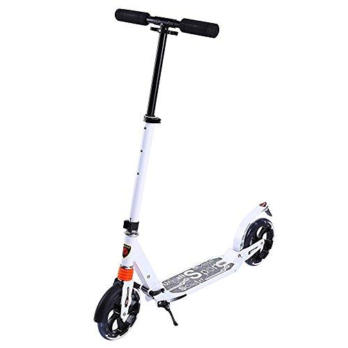 ZJchao Klappbar Alu Scooter Cityroller Tretroller mit Räder 200mm für Erwachsene Jugend (Weiß)