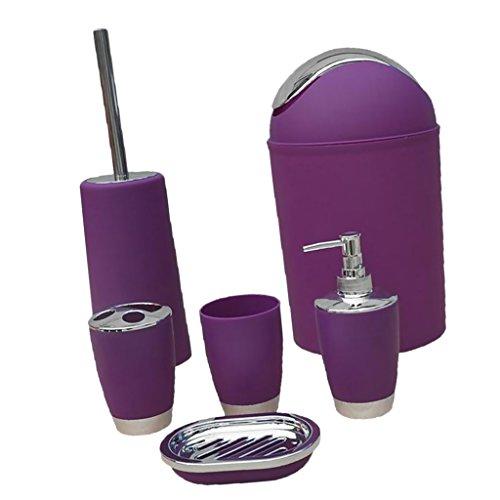 MagiDeal 6tlg Badeset Badezimmer zubehör Set Seifenspender Halter WC Bürste Badgarnitur Set - Lila, 6pcs/Set