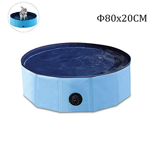 Hunde Planschbecken,Doggy Pool Faltbarer Badewanne Pool,Haustier-Duschbecken mit,Hundeplanschbecken mit Ablassventil,Haustiere Badewanne,Umweltfreundlichem PVC rutschfest,(80x20CM) -