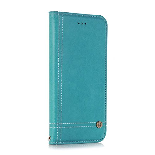 Coque Apple iPhone 7 / iPhone 8 Etui, Ougger Flip Pochette Cover Silicone Soft TPU Housse Protecteur PU Cuir Portefeuille avec Slot pour Carte Magnétique Stand-view Fonction Bumper Case Coquille (Noir Bleu