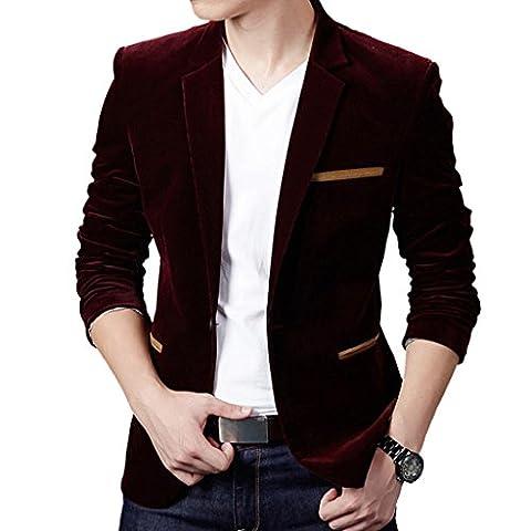MNBS Men's Soft Velvet Long Sleeve Slim Fit One Button Blazer Stylish Casual Small Burgundy