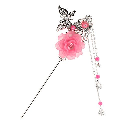 Sharplace Charms Fashion Blume Schmetterling Anhänger Quaste Perlen Chinesischen Palast Hanfu Kleid Haar Stick Für Kimono Lady - Dunkelpink (Kleider Grils)