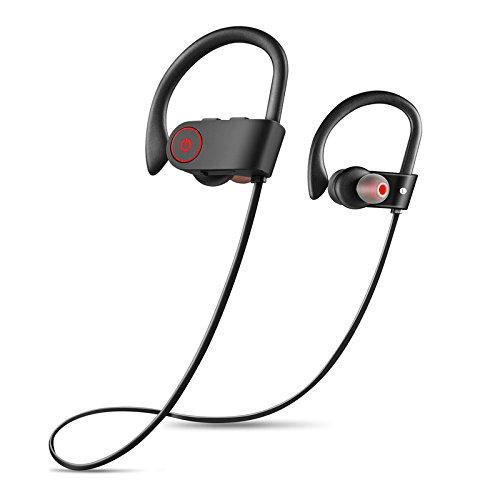 GUORZOM Bluetooth Kopfhörer Beste Drahtlose Sport-Kopfhörer mit Mikrofon IPX7 Wasserdichte HD Stereo-Sound mit Bass Sweatproof Siri Aktivierte in-Ohr-Ohrhörer Für Gym Running Workout Headset, Black Besten Bass-kopfhörer