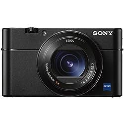 Sony DSC-RX100 V Digitalkamera (Stacked Exmor RS CMOS Sensor, 40-fach Super-Zeitlupe, 4K Video, Anti-Distortion Verschluss, 24-70 mm zeiss Vario-Sonnar T) schwarz